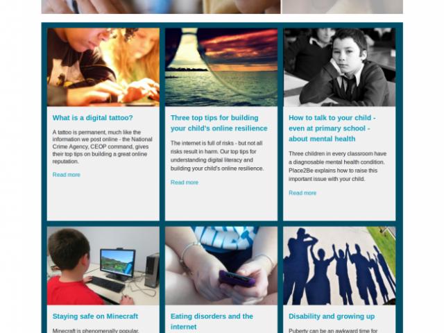 A screen shot of the Parent Info website